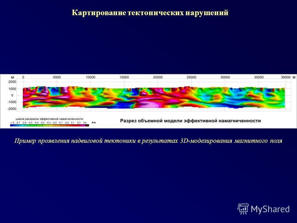 Картирование тектонических нарушений Пример проявления надвиговой тектоники в результатах 3D-моделирования магнитного поля