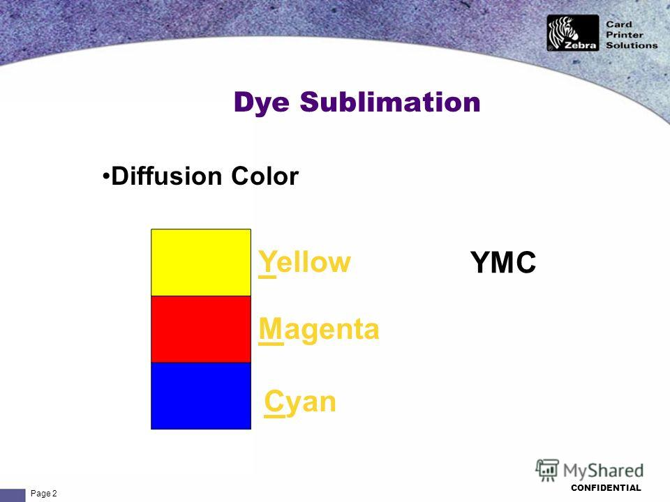Page 2 CONFIDENTIAL Dye Sublimation Yellow Magenta Cyan YMC Diffusion Color