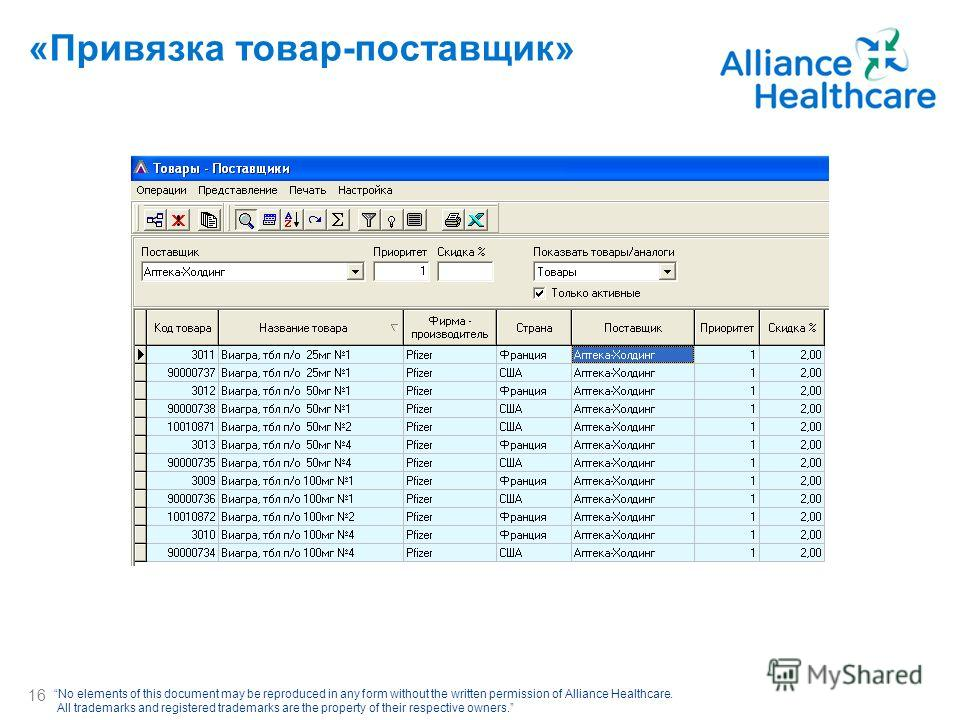 No elements of this document may be reproduced in any form without the written permission of Alliance Healthcare. All trademarks and registered trademarks are the property of their respective owners. «Привязка товар-поставщик» 16