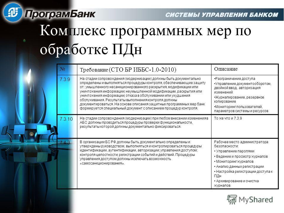 Комплекс программных мер по обработке ПДн Требование (СТО БР ИББС-1.0-2010) Описание 7.3.9 На стадии сопровождения (модернизации) должны быть документально определены и выполняться процедуры контроля, обеспечивающие защиту от: умышленного несанкциони