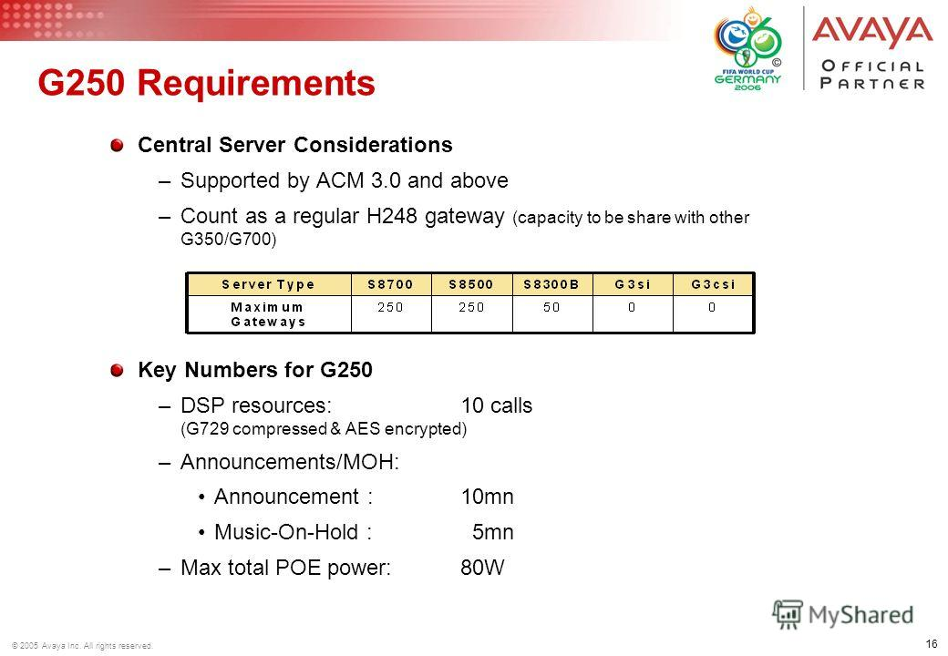 16 © 2005 Avaya Inc. All rights reserved. G250 Requirements Central Server Considerations –Supported by ACM 3.0 and above –Count as a regular H248 gateway (capacity to be share with other G350/G700) Key Numbers for G250 –DSP resources:10 calls (G729