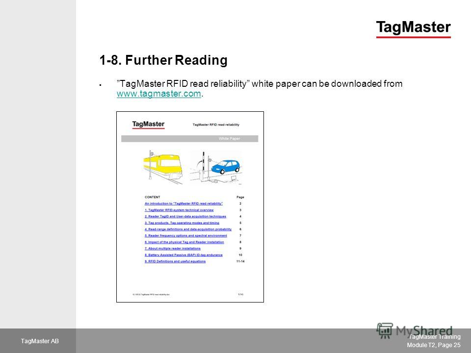 TagMaster Training Module T2, Page 25 TagMaster AB 1-8. Further Reading TagMaster RFID read reliability white paper can be downloaded from www.tagmaster.com. www.tagmaster.com