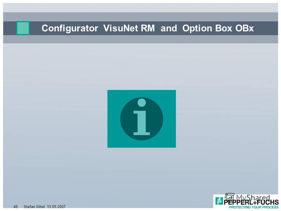 13.05.2007Stefan Sittel48 Configurator VisuNet RM and Option Box OBx