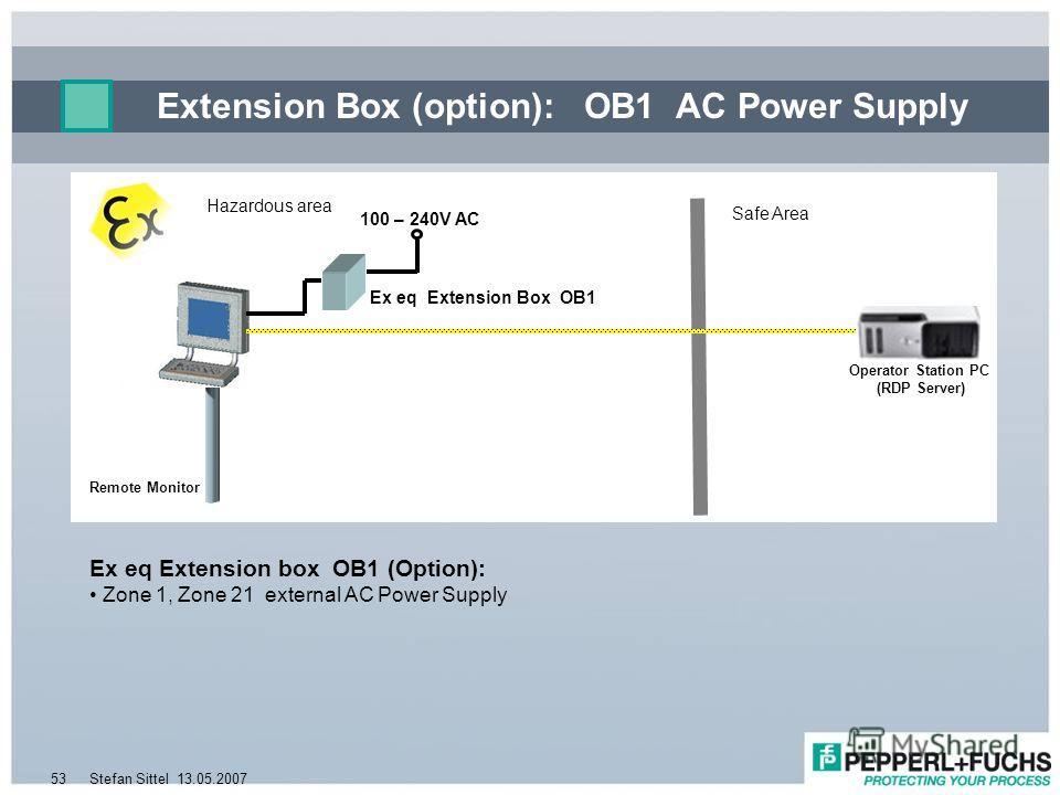 13.05.2007Stefan Sittel53 Extension Box (option): OB1 AC Power Supply Remote Monitor Ex eq Extension box OB1 (Option): Zone 1, Zone 21 external AC Power Supply Safe Area Hazardous area 100 – 240V AC Operator Station PC (RDP Server) Ex eq Extension Bo