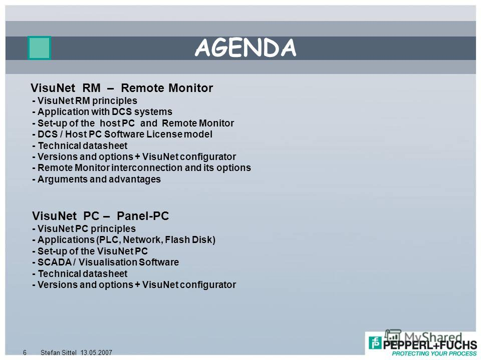 13.05.2007Stefan Sittel6 VisuNet RM – Remote Monitor - VisuNet RM principles - Application with DCS systems - Set-up of the host PC and Remote Monitor - DCS / Host PC Software License model - Technical datasheet - Versions and options + VisuNet confi