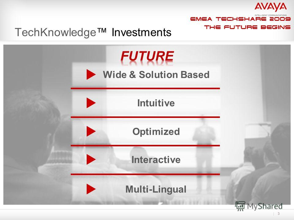 EMEA Techshare 2009 The Future Begins 3 TechKnowledge Investments Wide & Solution Based IntuitiveOptimizedInteractive Multi-Lingual Take the Now column out. Lets just go with what is new