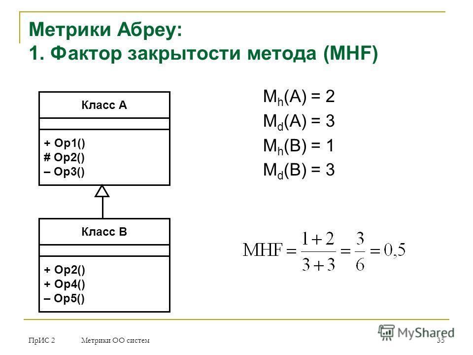 ПрИС 2 Метрики ОО систем 35 Метрики Абреу: 1. Фактор закрытости метода (MHF) M h (A) = 2 M d (A) = 3 M h (B) = 1 M d (B) = 3 Класс A + Op1() # Op2() – Op3() Класс В + Op2() + Op4() – Op5()