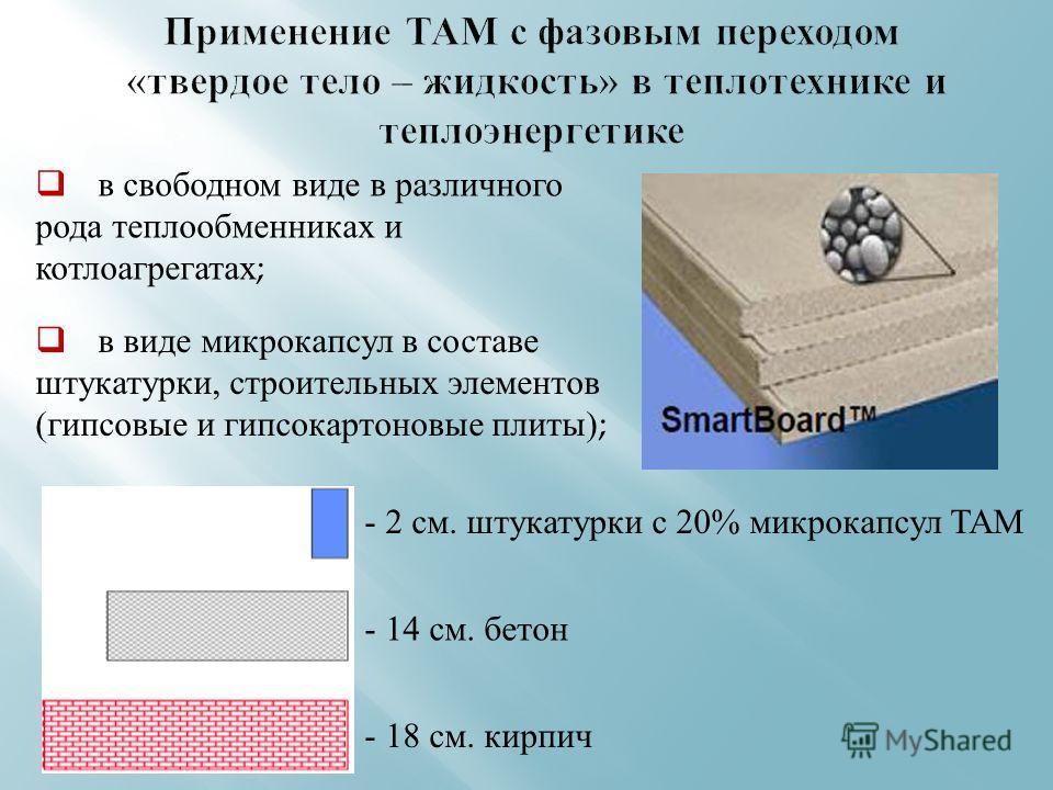в виде микрокапсул в составе штукатурки, строительных элементов ( гипсовые и гипсокартоновые плиты ); в свободном виде в различного рода теплообменниках и котлоагрегатах ; - 2 см. штукатурки с 20% микрокапсул ТАМ - 14 см. бетон - 18 см. кирпич