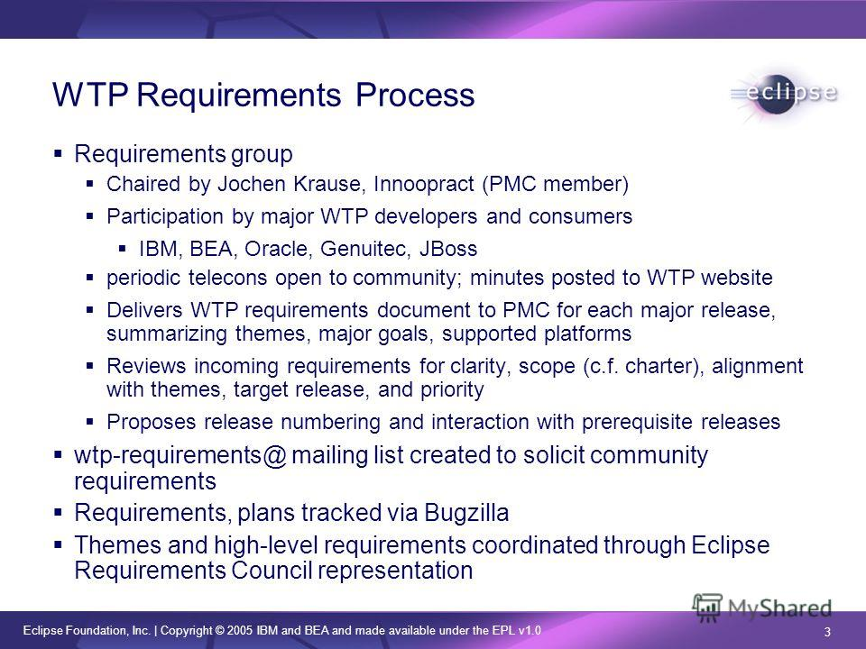 Eclipse Foundation, Inc. | Copyright © 2005 IBM and BEA and made available under the EPL v1.0 3 WTP Requirements Process Requirements group Chaired by Jochen Krause, Innoopract (PMC member) Participation by major WTP developers and consumers IBM, BEA