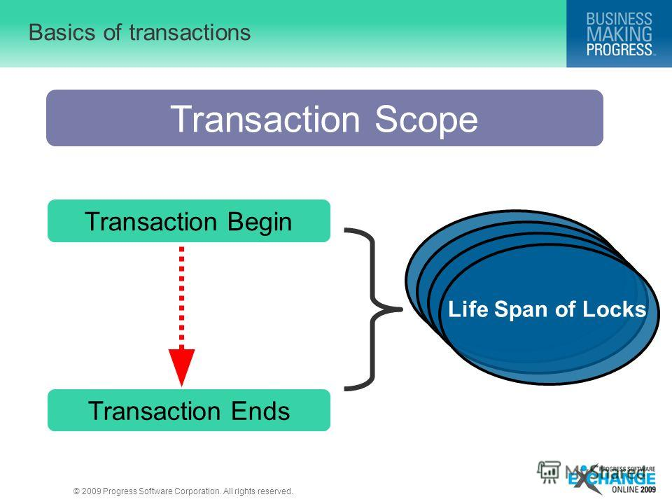 © 2009 Progress Software Corporation. All rights reserved. Basics of transactions Life Span of Locks Transaction Scope Transaction Begin Transaction Ends