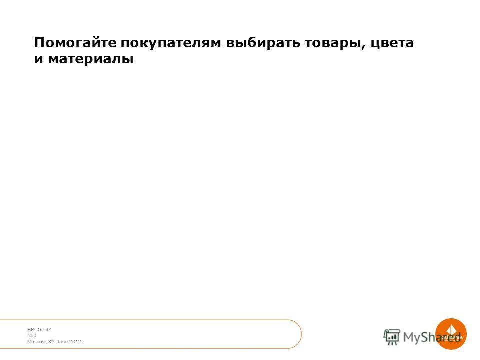 April 2012 Moscow Nico de Jong BBCG DIY NdJ Moscow, 8 th June 2012 Помогайте покупателям выбирать товары, цвета и материалы