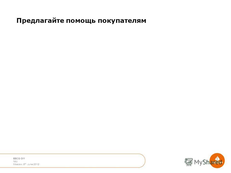April 2012 Moscow Nico de Jong BBCG DIY NdJ Moscow, 8 th June 2012 Предлагайте помощь покупателям