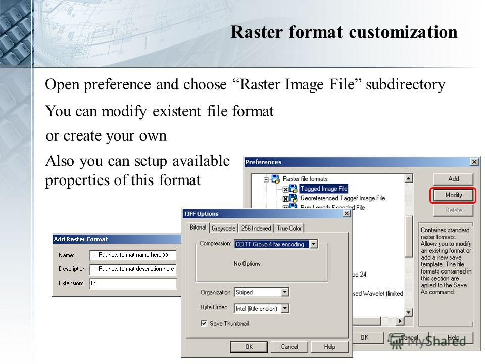 Open preference and choose Raster Image File subdirectory You can modify existent file format or create your own Also you can setup available properties of this format Raster format customization