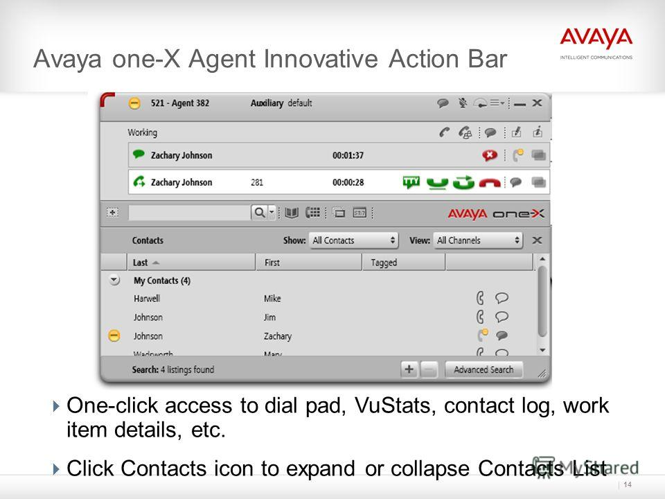 14 Avaya one-X Agent Innovative Action Bar One-click access to dial pad, VuStats, contact log, work item details, etc. Click Contacts icon to expand or collapse Contacts List