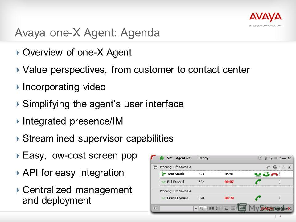 Avaya one-X Agent: Agenda Overview of one-X Agent Value perspectives, from customer to contact center Incorporating video Simplifying the agents user interface Integrated presence/IM Streamlined supervisor capabilities Easy, low-cost screen pop API f