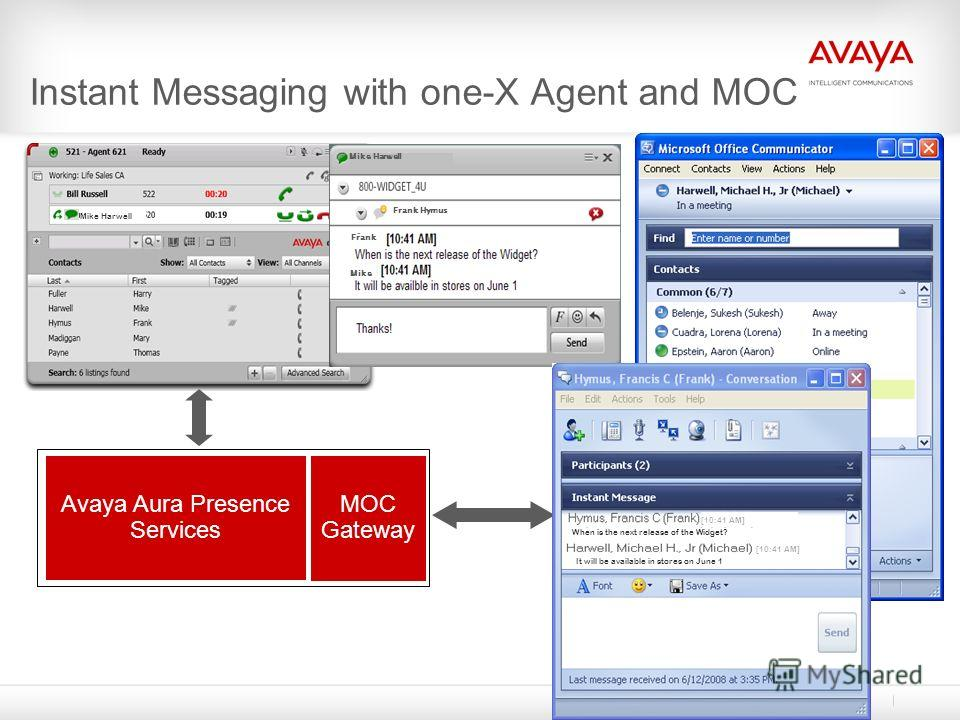 Avaya Aura Presence Services Instant Messaging with one-X Agent and MOC Mike Harwell Frank Hymus Mike Frank MOC Gateway Mike Harwell When is the next release of the Widget? It will be available in stores on June 1 [10:41 AM]