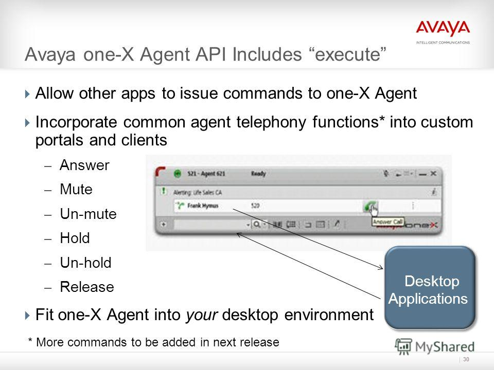 Avaya one-X Agent API Includes execute Allow other apps to issue commands to one-X Agent Incorporate common agent telephony functions* into custom portals and clients – Answer – Mute – Un-mute – Hold – Un-hold – Release Fit one-X Agent into your desk