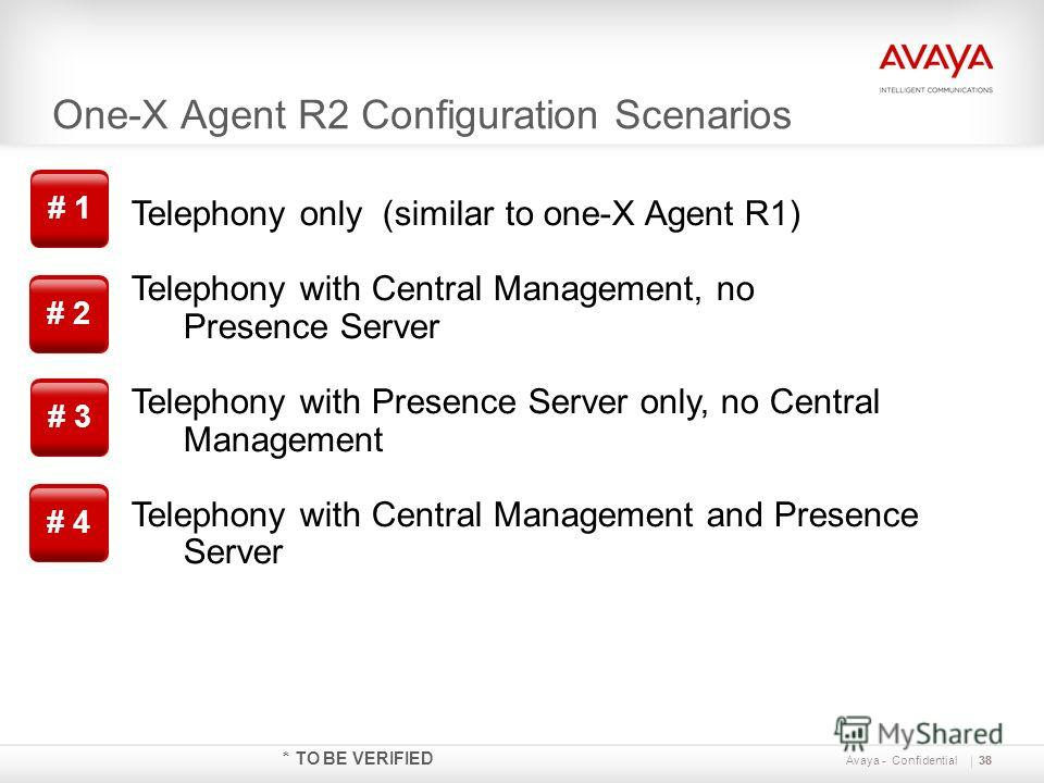 One-X Agent R2 Configuration Scenarios 38 Avaya - Confidential * TO BE VERIFIED Telephony only (similar to one-X Agent R1) Telephony with Central Management, no Presence Server Telephony with Presence Server only, no Central Management Telephony with