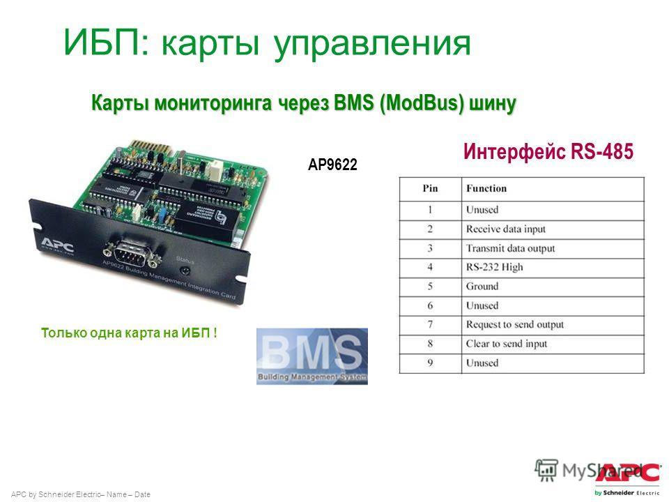 APC by Schneider Electric– Name – Date Интерфейс RS-485 ИБП: карты управления AP9622 Карты мониторинга через BMS (ModBus) шину Только одна карта на ИБП !