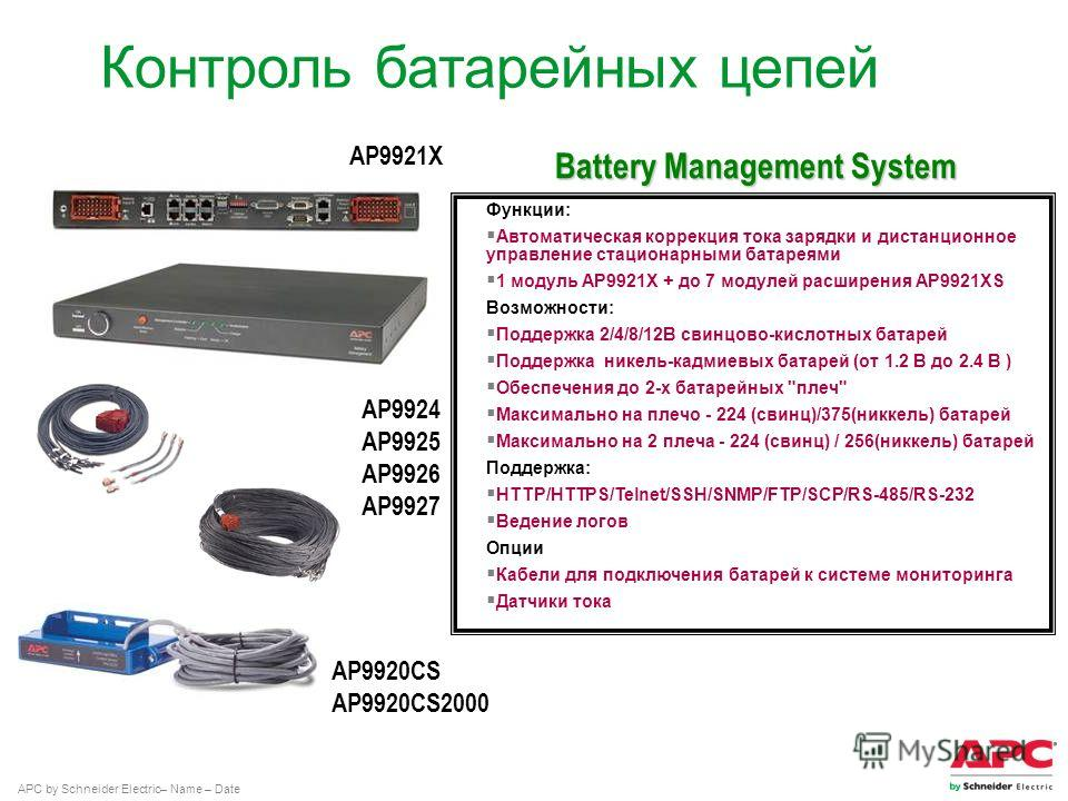 APC by Schneider Electric– Name – Date Контроль батарейных цепей AP9924 AP9925 AP9926 AP9927 AP9921X AP9920CS AP9920CS2000 Функции: Автоматическая коррекция тока зарядки и дистанционное управление стационарными батареями 1 модуль AP9921X + до 7 модул
