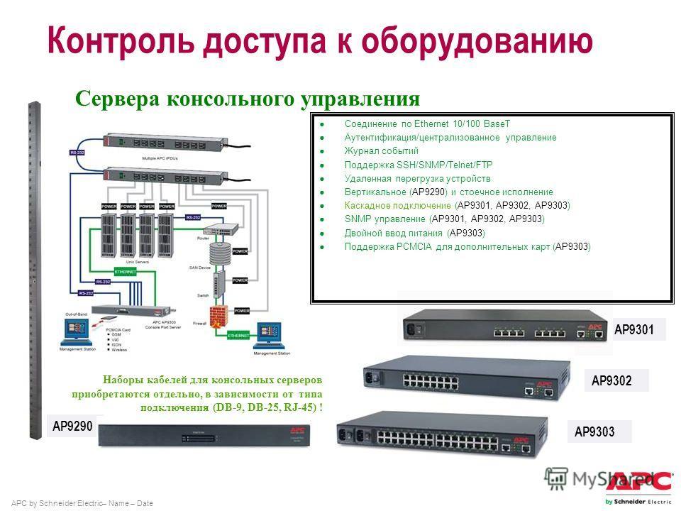APC by Schneider Electric– Name – Date Контроль доступа к оборудованию AP9302 AP9301 AP9290 Сервера консольного управления Наборы кабелей для консольных серверов приобретаются отдельно, в зависимости от типа подключения (DB-9, DB-25, RJ-45) ! AP9303