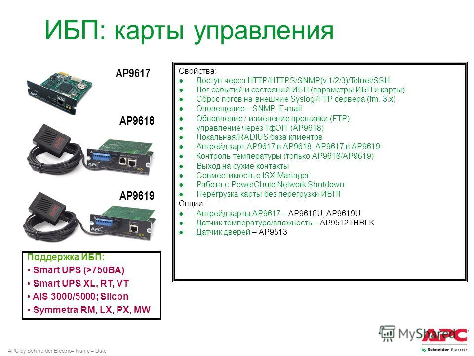 APC by Schneider Electric– Name – Date AP9617 AP9619 AP9618 ИБП: карты управления Поддержка ИБП: Smart UPS (>750ВА) Smart UPS XL, RT, VT AIS 3000/5000; Silcon Symmetra RM, LX, PX, MW Свойства: Доступ через HTTP/HTTPS/SNMP(v.1/2/3)/Telnet/SSH Лог собы