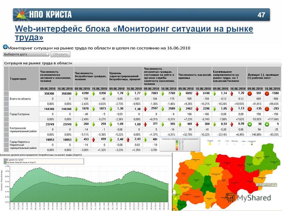 47 Web-интерфейс блока «Мониторинг ситуации на рынке труда»