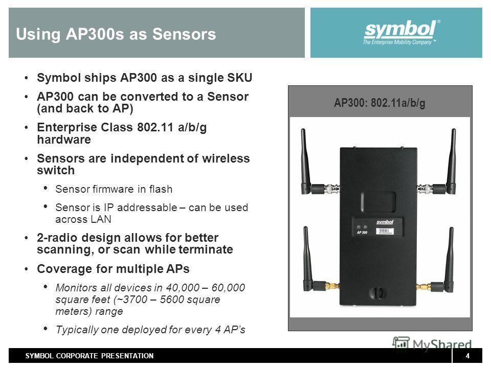4SYMBOL CORPORATE PRESENTATION Using AP300s as Sensors Symbol ships AP300 as a single SKU AP300 can be converted to a Sensor (and back to AP) Enterprise Class 802.11 a/b/g hardware Sensors are independent of wireless switch Sensor firmware in flash S