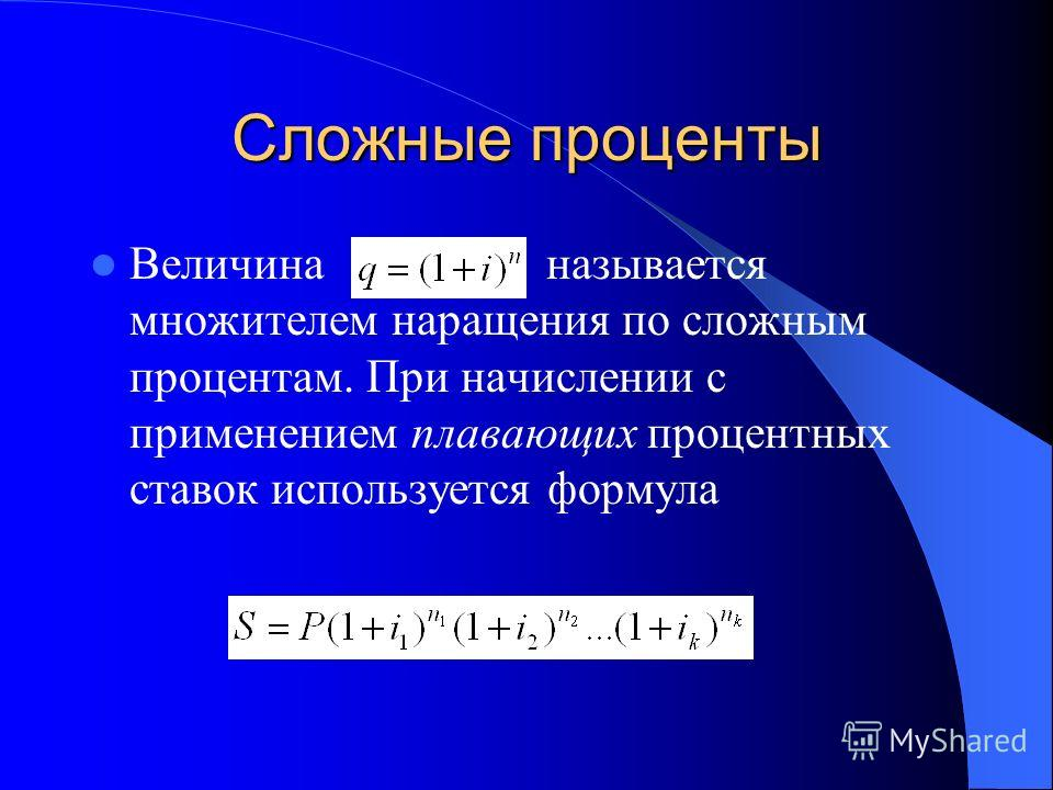 Сложные проценты Величина называется множителем наращения по сложным процентам. При начислении с применением плавающих процентных ставок используется формула