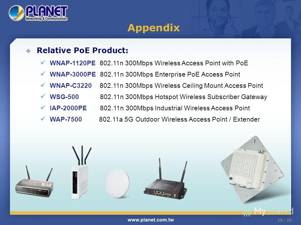 19 / 20 Relative PoE Product: WNAP-1120PE 802.11n 300Mbps Wireless Access Point with PoE WNAP-3000PE 802.11n 300Mbps Enterprise PoE Access Point WNAP-C3220 802.11n 300Mbps Wireless Ceiling Mount Access Point WSG-500 802.11n 300Mbps Hotspot Wireless S