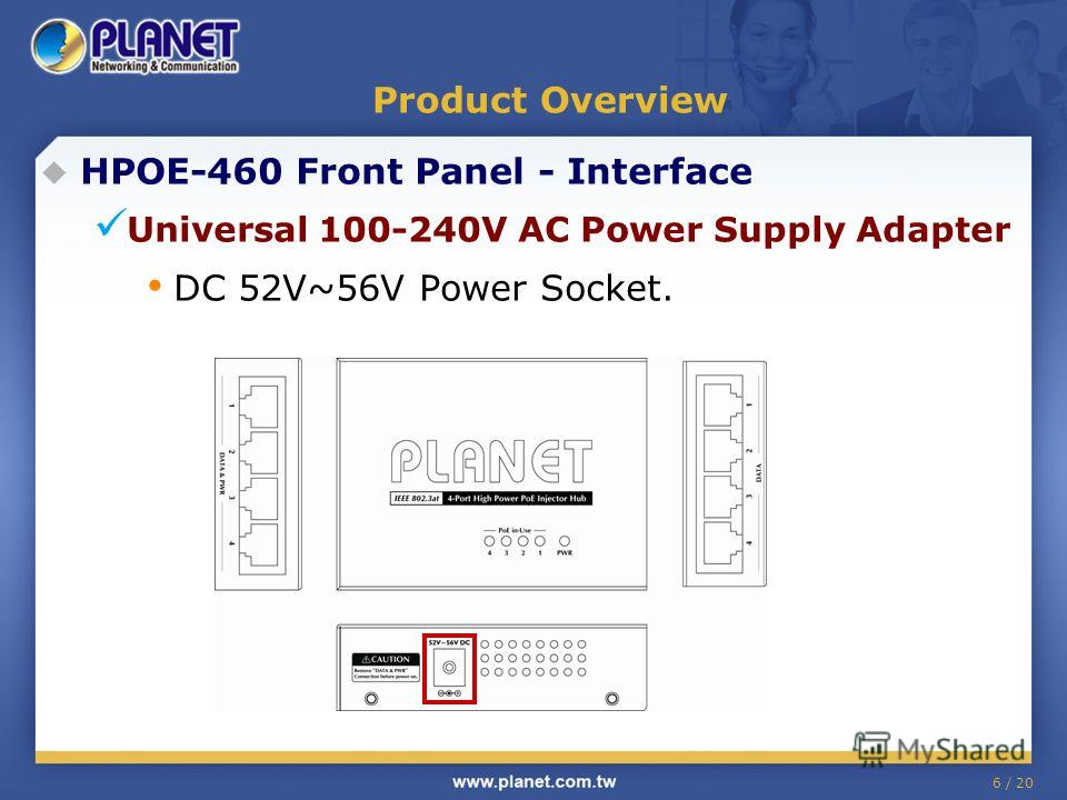 6 / 20 Product Overview HPOE-460 Front Panel - Interface Universal 100-240V AC Power Supply Adapter DC 52V~56V Power Socket.