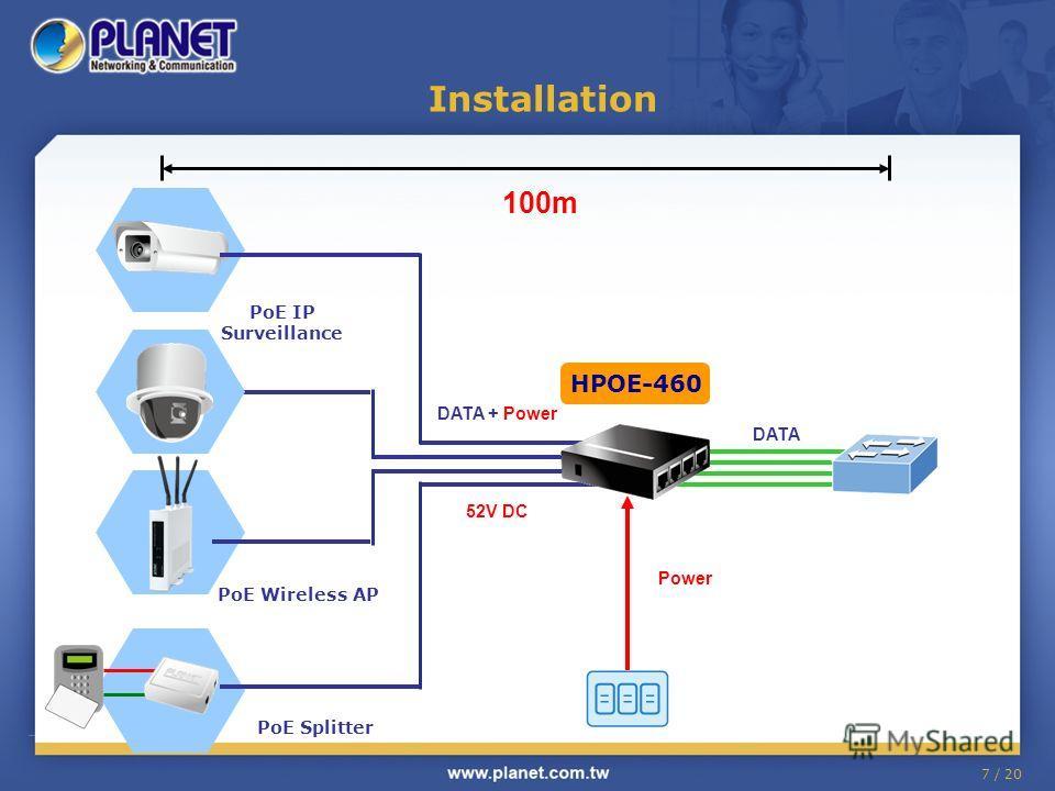 7 / 20 Installation DATA Power DATA + Power 52V DC PoE IP Surveillance PoE Wireless AP PoE Splitter 100m HPOE-460