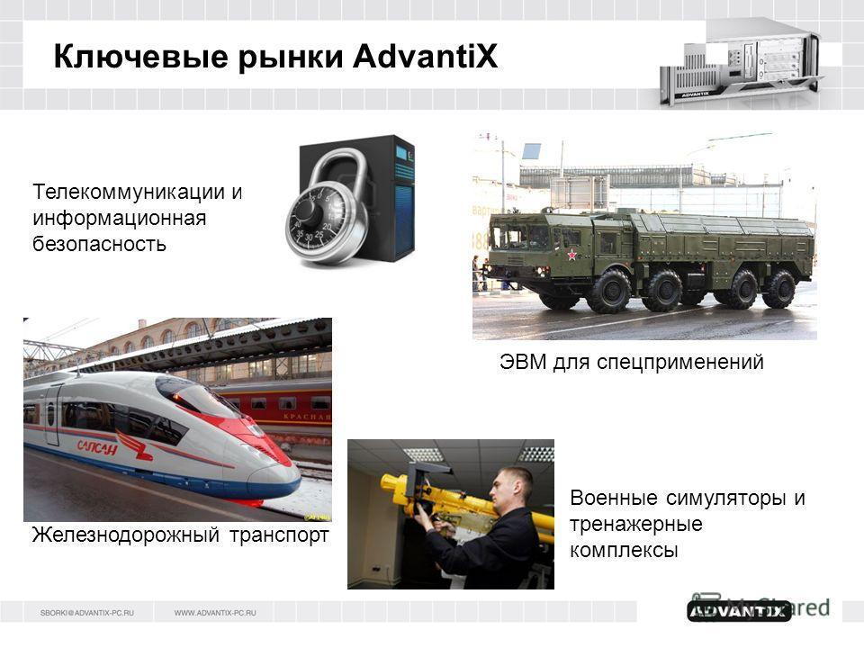 Ключевые рынки AdvantiX Телекоммуникации и информационная безопасность Военные симуляторы и тренажерные комплексы Железнодорожный транспорт ЭВМ для спецприменений