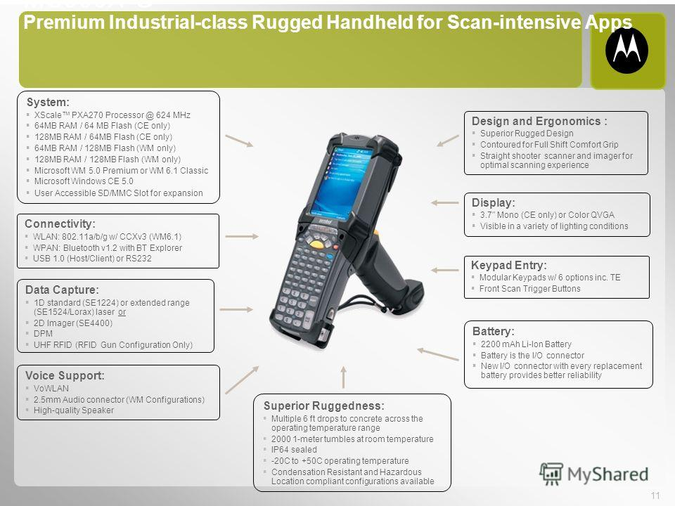 11 MC909X-G Premium Industrial-class Rugged Handheld for Scan-intensive Apps System: XScale PXA270 Processor @ 624 MHz 64MB RAM / 64 MB Flash (CE only) 128MB RAM / 64MB Flash (CE only) 64MB RAM / 128MB Flash (WM only) 128MB RAM / 128MB Flash (WM only