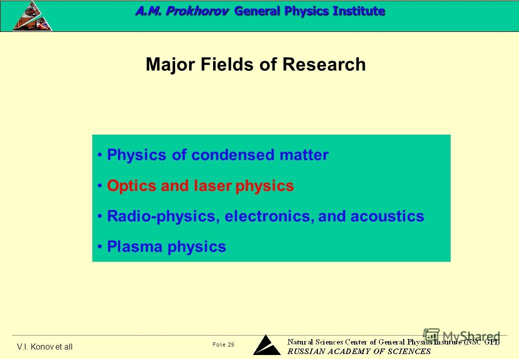 V.I. Konov et all Folie 29 Physics of condensed matter Optics and laser physics Radio-physics, electronics, and acoustics Plasma physics Major Fields of Research A.M. Prokhorov General Physics Institute