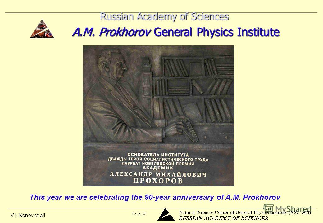 V.I. Konov et all Folie 37 Russian Academy of Sciences Russian Academy of Sciences A.M. Prokhorov General Physics Institute A.M. Prokhorov General Physics Institute This year we are celebrating the 90-year anniversary of A.M. Prokhorov