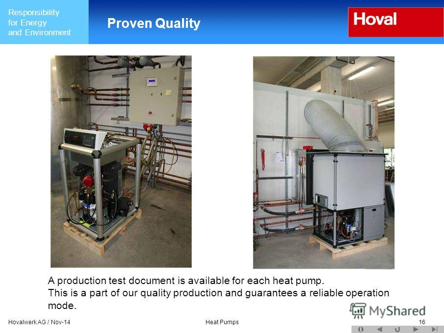 Responsibility for Energy and Environment Hovalwerk AG / Nov-14Heat Pumps16 Proven Quality A production test document is available for each heat pump. This is a part of our quality production and guarantees a reliable operation mode.