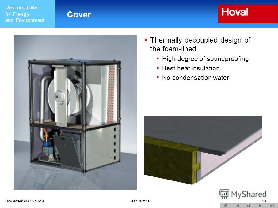 Responsibility for Energy and Environment Hovalwerk AG / Nov-14Heat Pumps24 Cover Thermally decoupled design of the foam-lined High degree of soundproofing Best heat insulation No condensation water