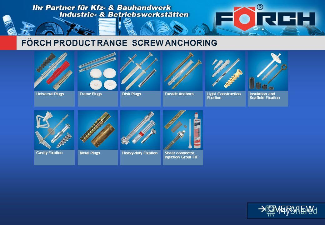 FÖRCH PRODUCT RANGE SCREW ANCHORING Universal PlugsFrame PlugsDisk PlugsFacade AnchorsLight Construction Fixation Insulation and Scaffold Fixation Cavity FixationMetal PlugsHeavy-duty FixationShear connector, Injection Grout FIT OVERVIEW