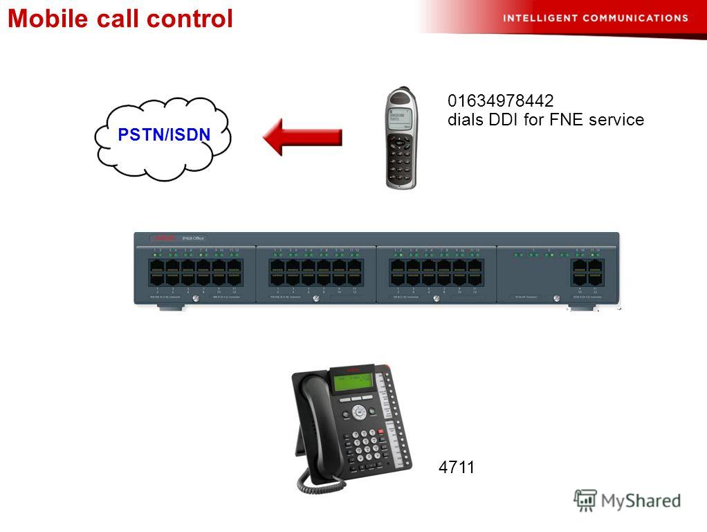 01634978442 4711 dials DDI for FNE service PSTN/ISDN Mobile call control