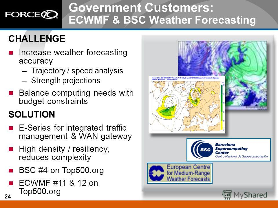 24 Government Customers: ECWMF & BSC Weather Forecasting CHALLENGE Increase weather forecasting accuracy –Trajectory / speed analysis –Strength projections Balance computing needs with budget constraints SOLUTION E-Series for integrated traffic manag