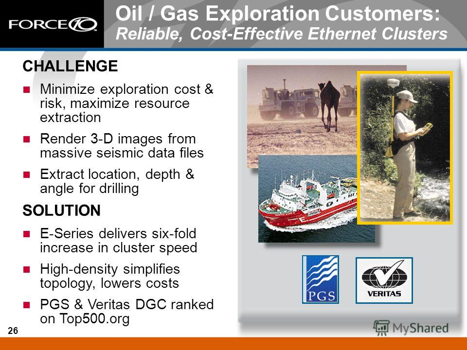 26 Oil / Gas Exploration Customers: Reliable, Cost-Effective Ethernet Clusters CHALLENGE Minimize exploration cost & risk, maximize resource extraction Render 3-D images from massive seismic data files Extract location, depth & angle for drilling SOL