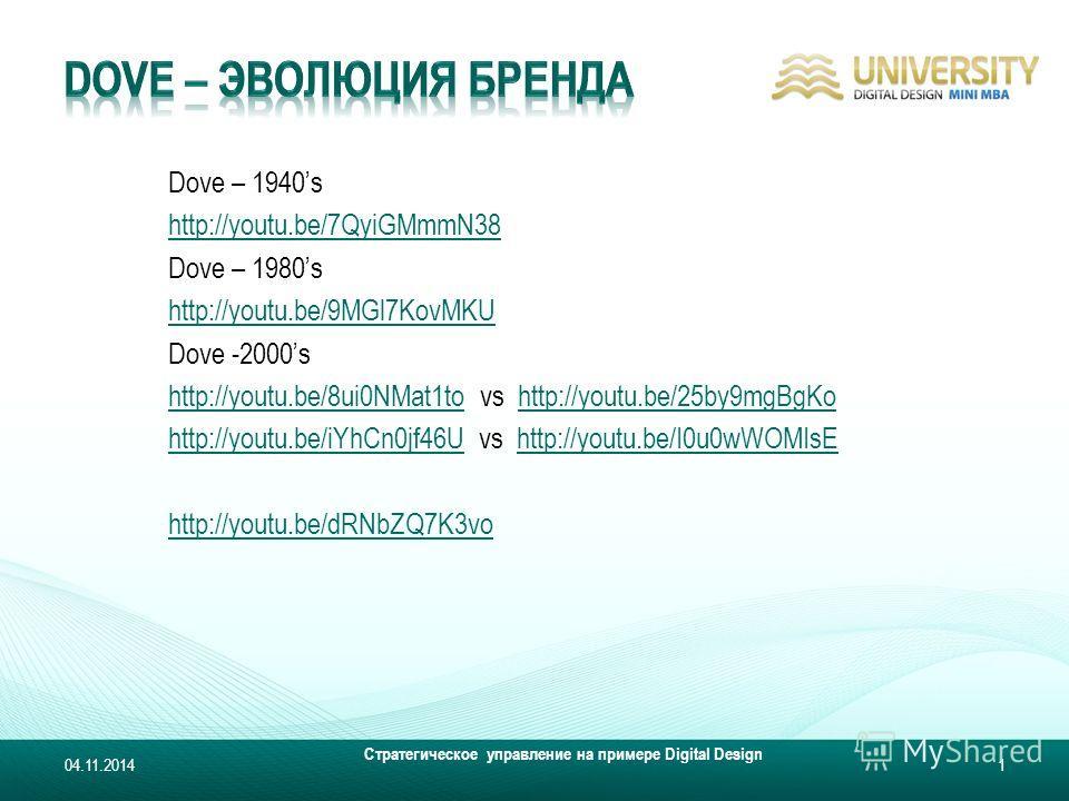 Dove – 1940s http://youtu.be/7QyiGMmmN38 Dove – 1980s http://youtu.be/9MGl7KovMKU Dove -2000s http://youtu.be/8ui0NMat1tohttp://youtu.be/8ui0NMat1to vs http://youtu.be/25by9mgBgKohttp://youtu.be/25by9mgBgKo http://youtu.be/iYhCn0jf46Uhttp://youtu.be/