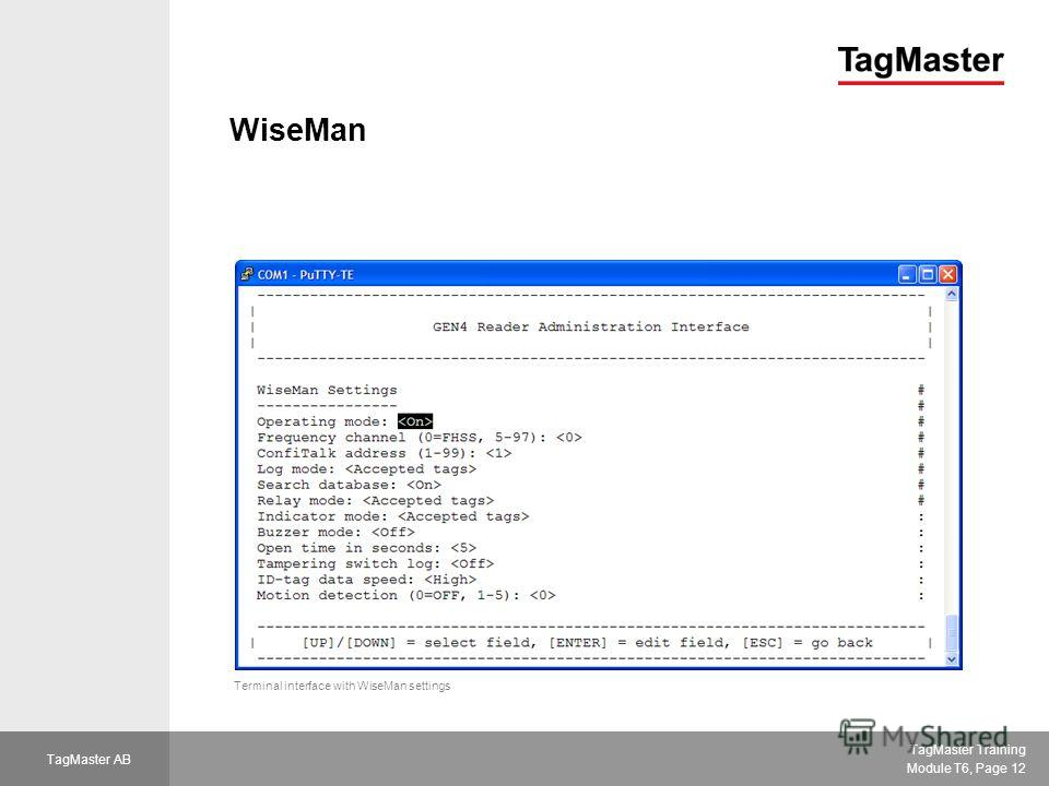 TagMaster Training Module T6, Page 12 TagMaster AB WiseMan Terminal interface with WiseMan settings