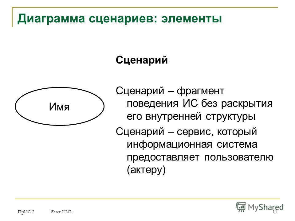 ПрИС 2 Язык UML 11 Диаграмма сценариев: элементы Сценарий Сценарий – фрагмент поведения ИС без раскрытия его внутренней структуры Сценарий – сервис, который информационная система предоставляет пользователю (актеру) Имя