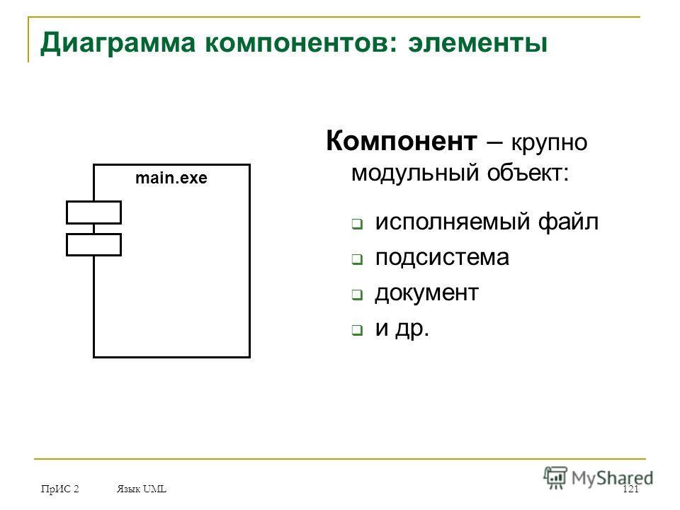 ПрИС 2 Язык UML 121 Компонент – крупно модульный объект: исполняемый файл подсистема документ и др. Диаграмма компонентов: элементы main.exe