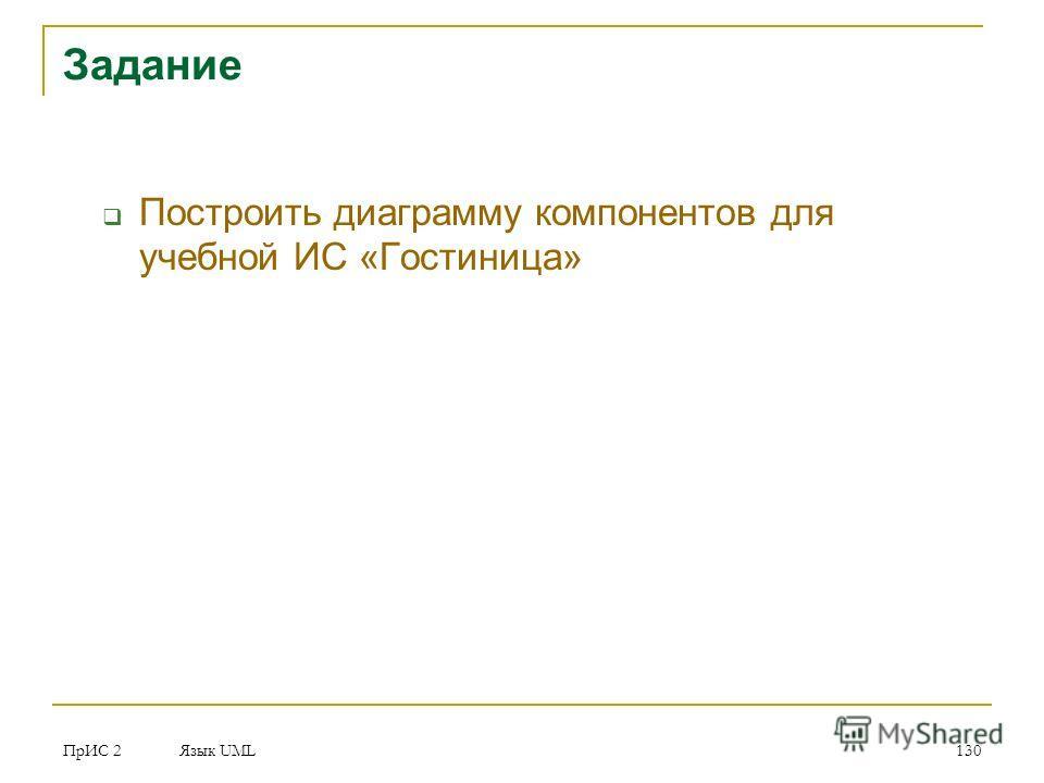 ПрИС 2 Язык UML 130 Задание Построить диаграмму компонентов для учебной ИС «Гостиница»