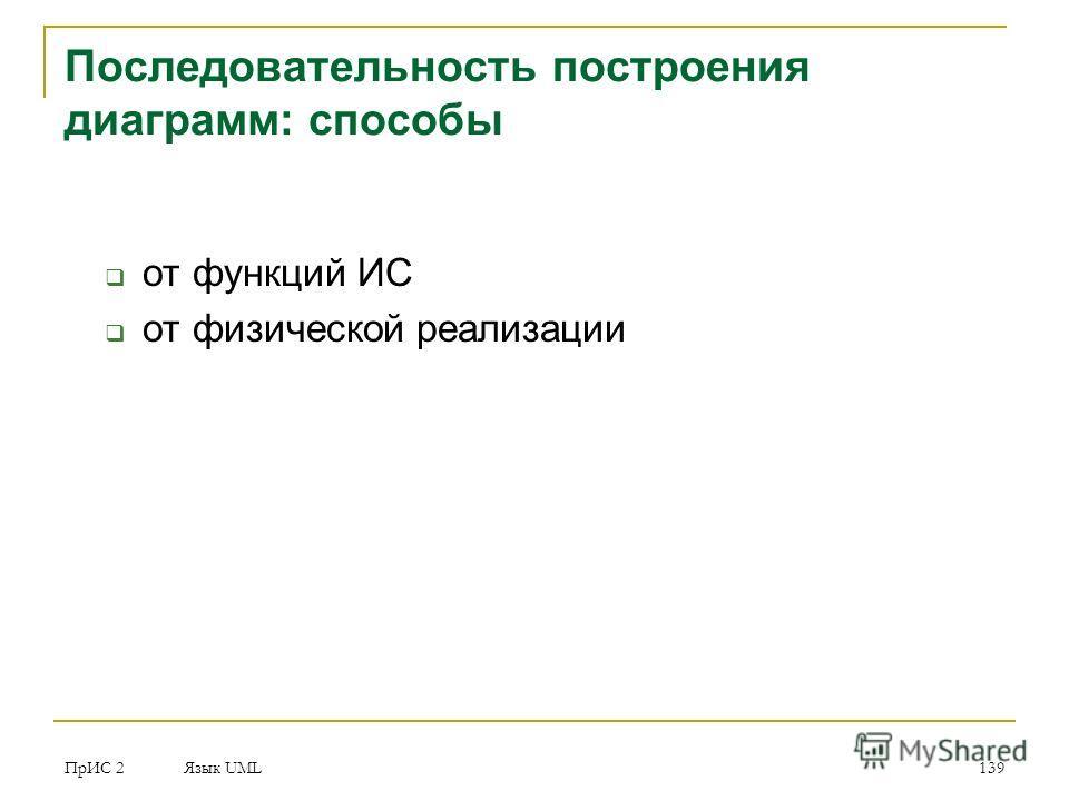 ПрИС 2 Язык UML 139 Последовательность построения диаграмм: способы от функций ИС от физической реализации