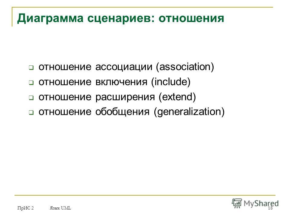 ПрИС 2 Язык UML 18 Диаграмма сценариев: отношения отношение ассоциации (association) отношение включения (include) отношение расширения (extend) отношение обобщения (generalization)