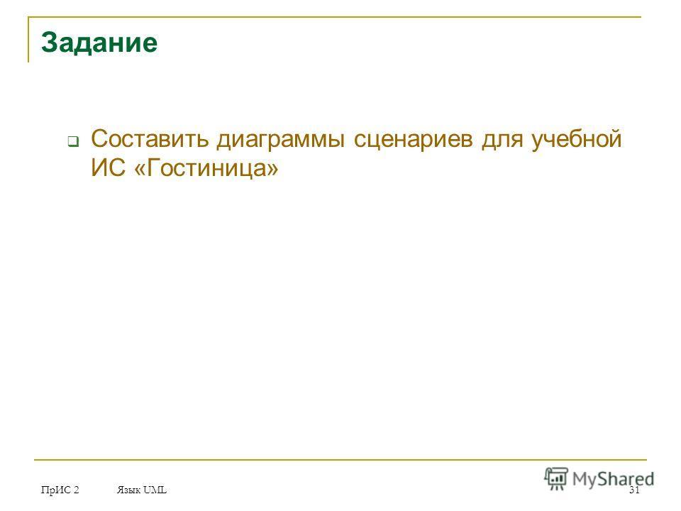 ПрИС 2 Язык UML 31 Задание Составить диаграммы сценариев для учебной ИС «Гостиница»